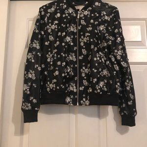 MICHAEL KORS faux leather embroidered bomber